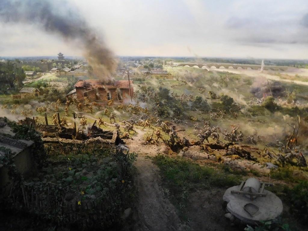 抗日戦争記念館の盧溝橋事件のジオラマ