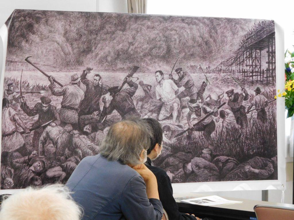 張玉彪(南京芸術学院教授)さんが描いた「東瀛大屠殺」(関東大震災中国人虐殺の図)